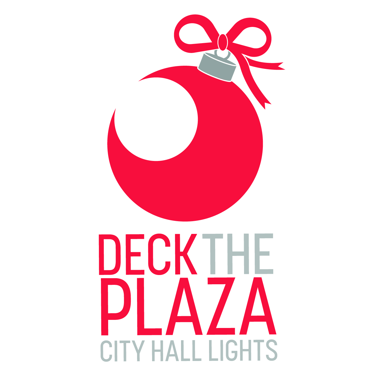 Image of Christmas decoration and marketing deck the plaza at city hall lights.