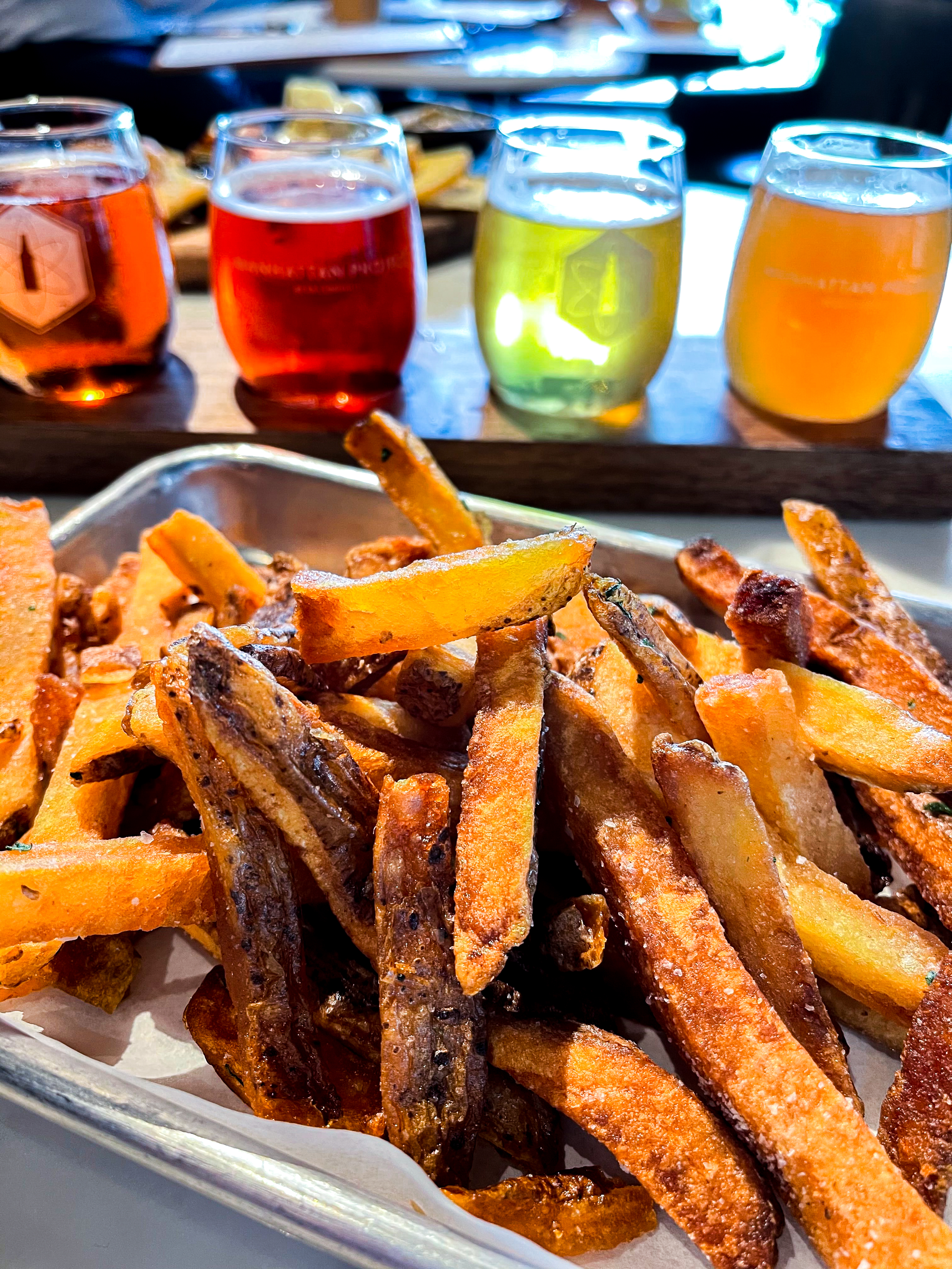 Beer and fries at Manhatten Beer Project in West Dallas.
