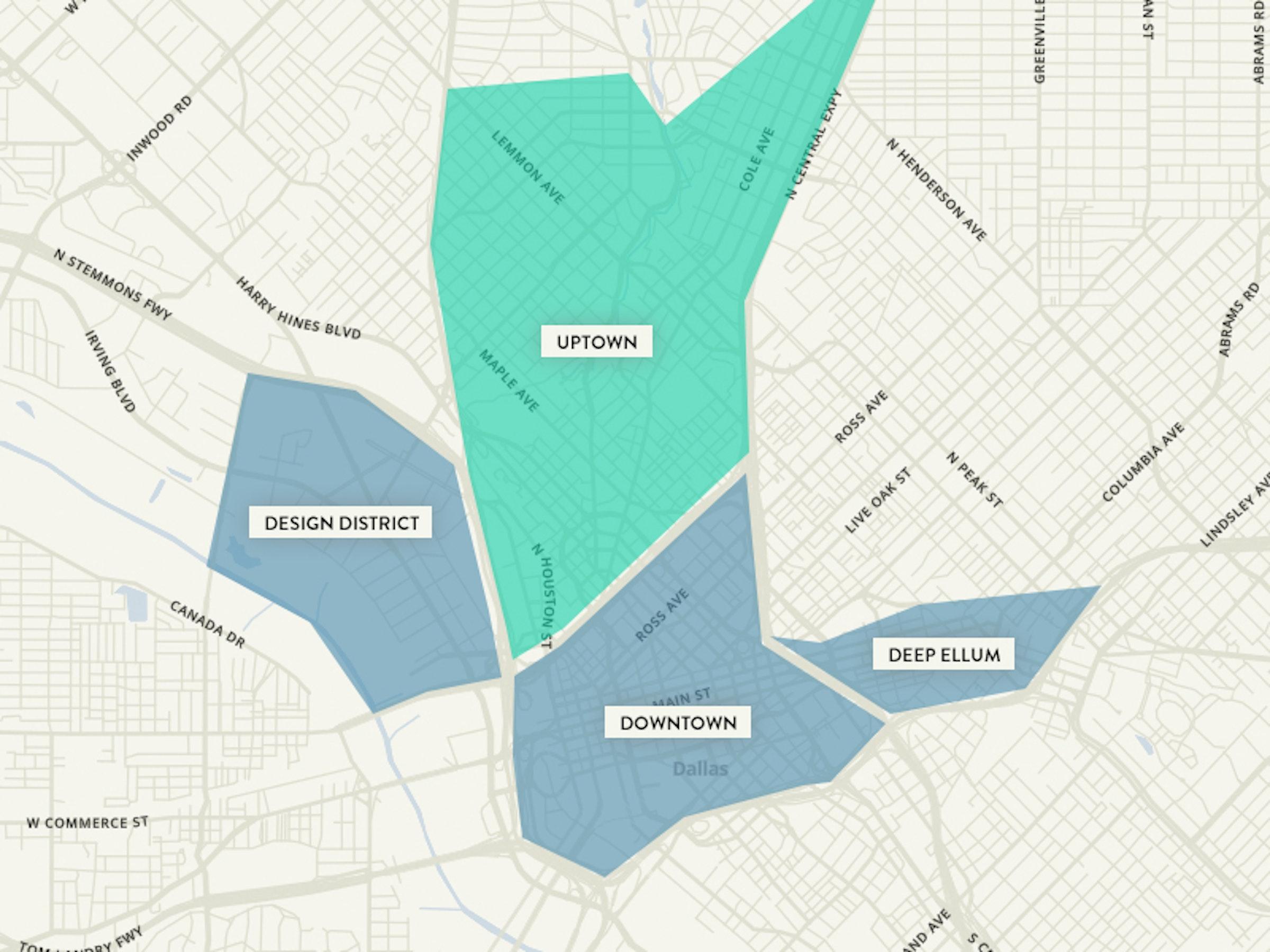 map of uptown dallas Uptown Dallas Top Restaurants And Things To Do map of uptown dallas