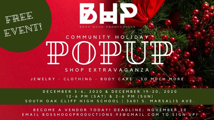 COMMUNITY HOLIDAY POPUP SHOP EXTRAVAGANZA