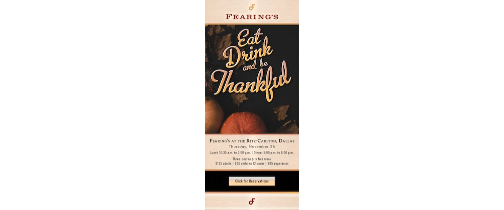 Thanksgiving at Fearing's Restaurant
